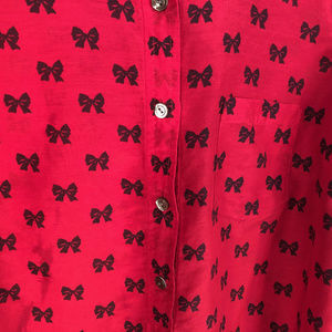 J. Crew Tops - J. Crew Red Silk Bow Button Up Top